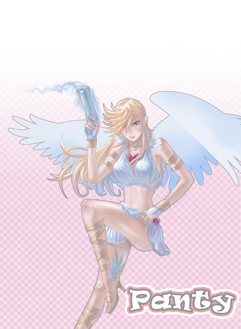 吊带袜天使同人插画壁纸,风格各异