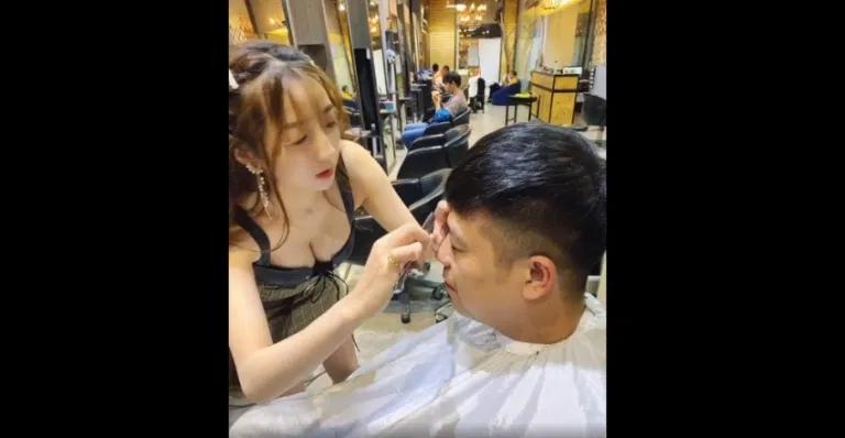 网红直播正妹发型设计师黎娜,弯腰剪发胸前饱满乳量呼之欲出